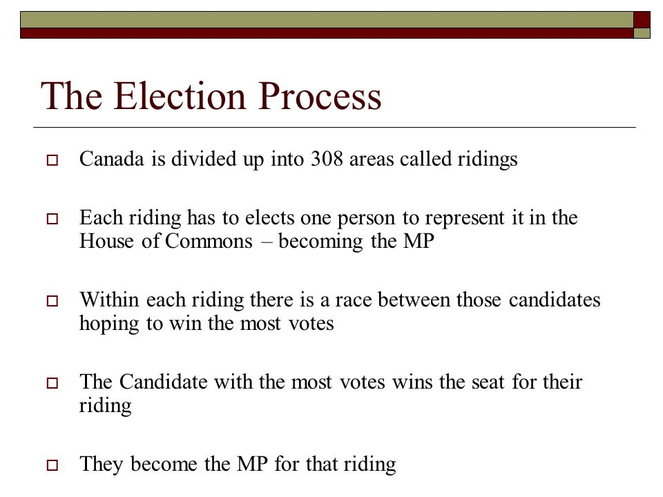 The Election Process Canada is divided up into 308 areas called ridings.