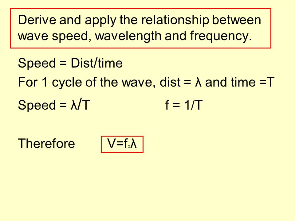 the relationship between frequency wavelength and speed