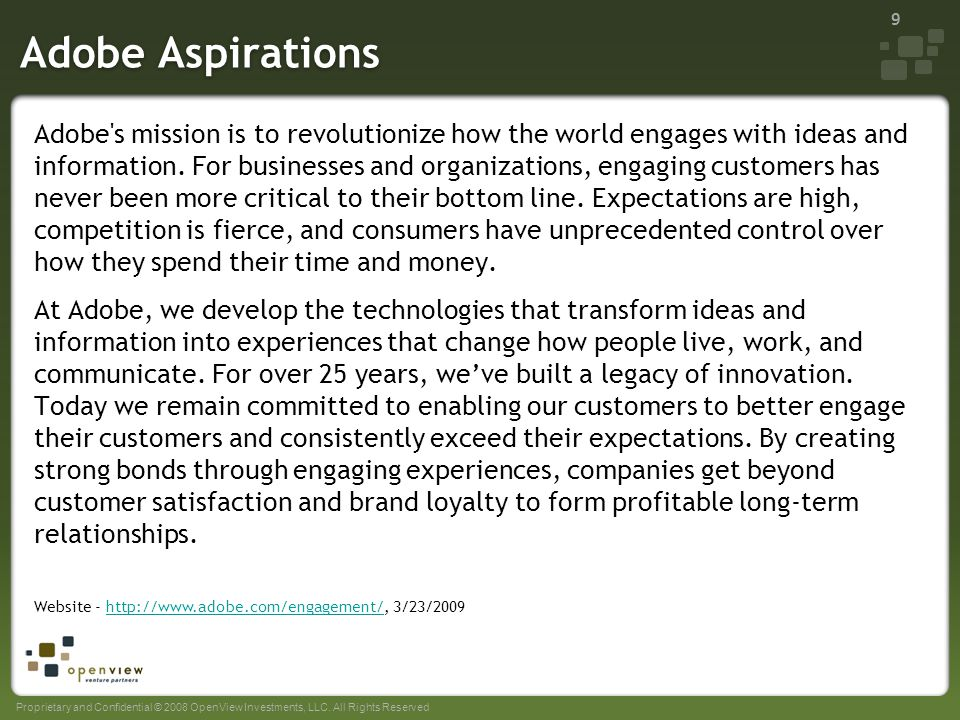 Sample aspiration statements of top technology companies for Adobe mission statement