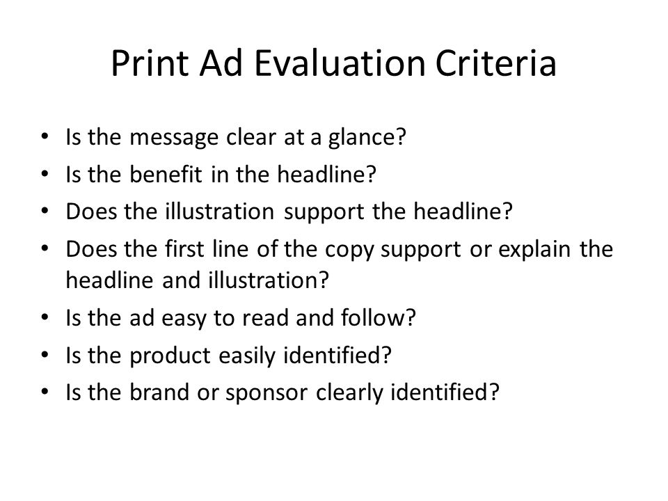 Print Ad Evaluation Criteria