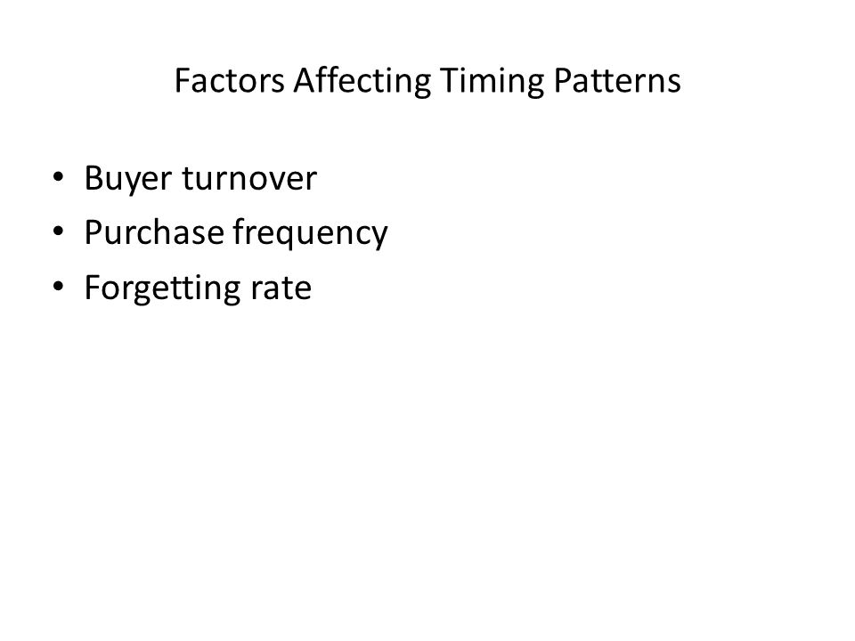 Factors Affecting Timing Patterns