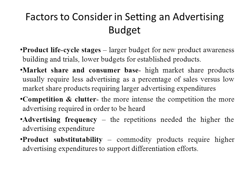 Factors to Consider in Setting an Advertising Budget