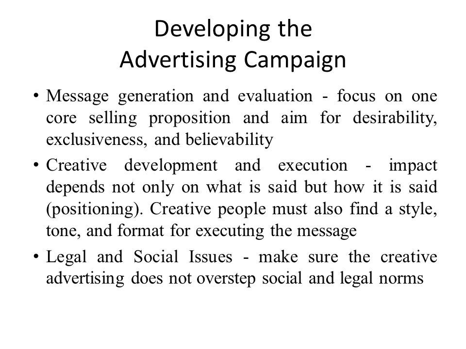 Developing the Advertising Campaign