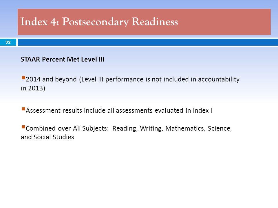 Index 4: Postsecondary Readiness
