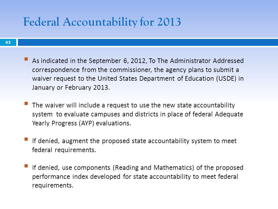 Federal Accountability for 2013