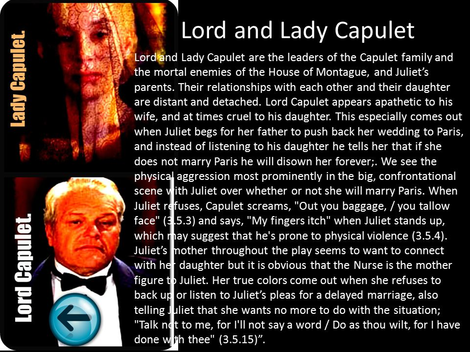 lord and lady capulet relationship quizzes