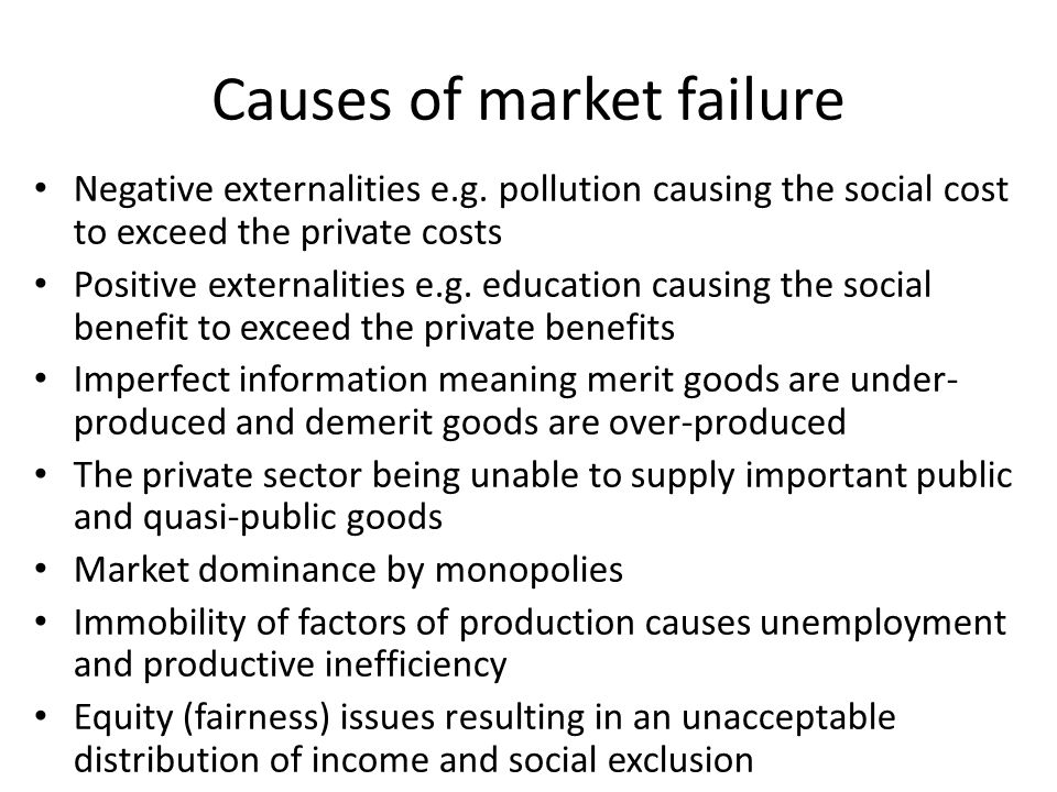 What Are the Causes of Market Failure?