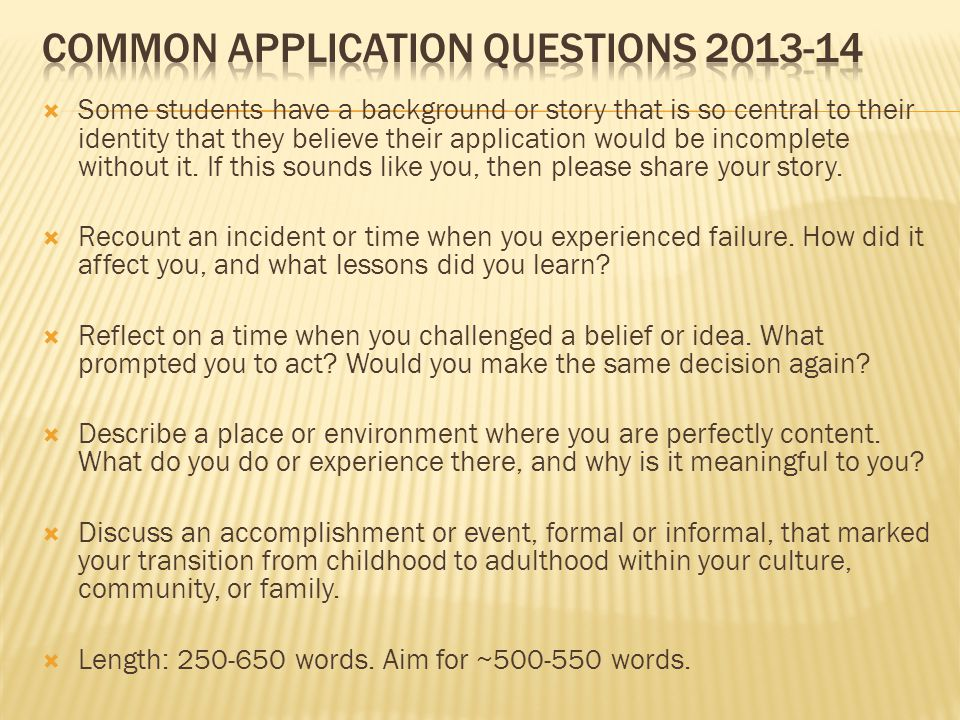 Common college admissions essay questions