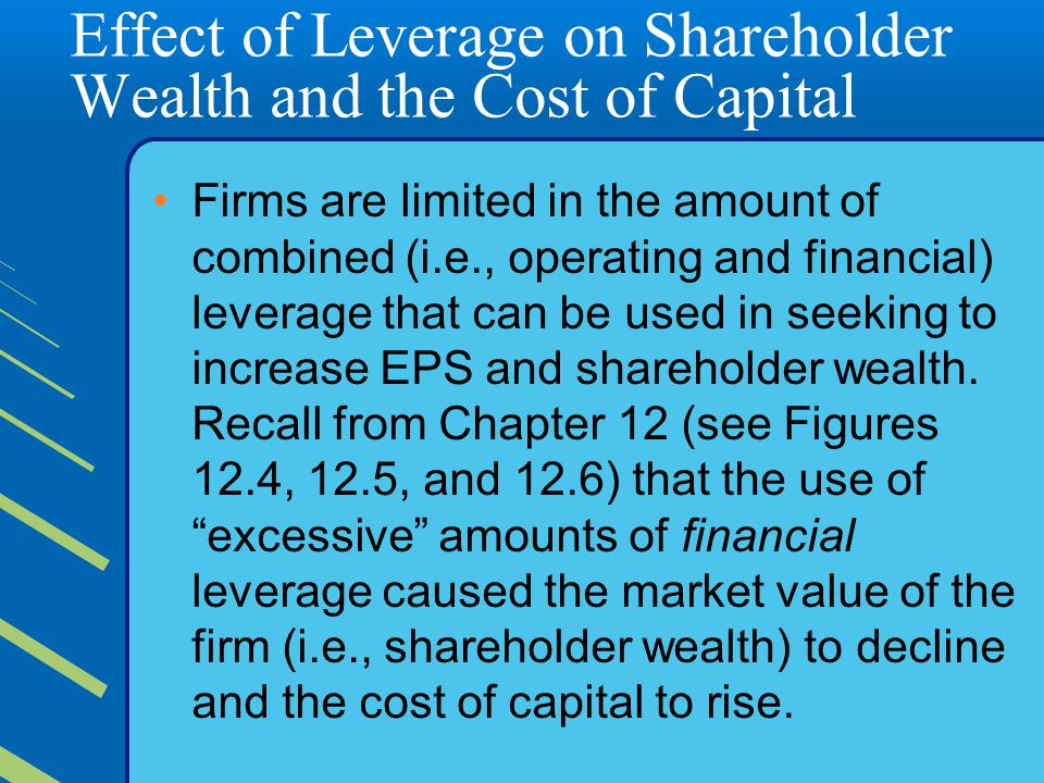 the effect of leverage on shareholders' Dividend policy and its effects on shareholders wealth: evidence from uk firm size, leverage and investment has positive effect on shareholders wealth and.
