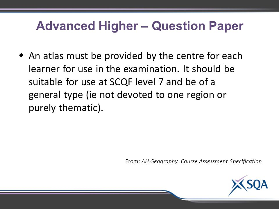 Advanced Higher – Question Paper