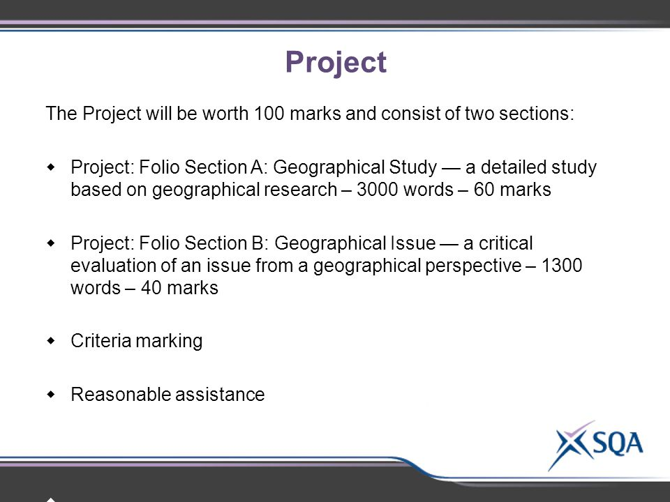 Project The Project will be worth 100 marks and consist of two sections: