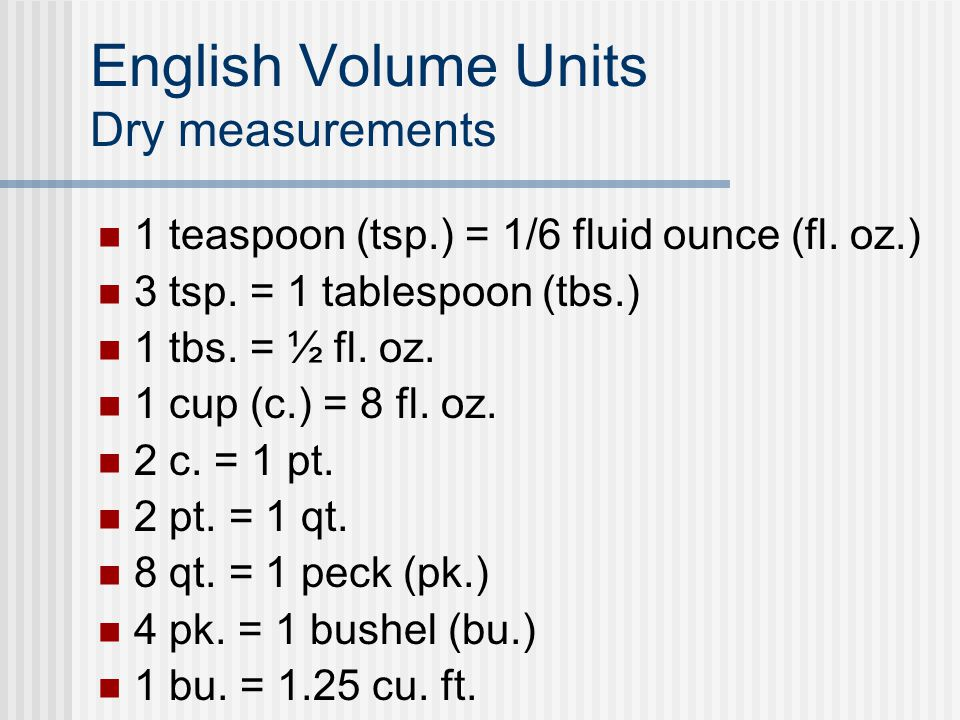 Using english and metric measurements ppt video online for 1 table spoon oz