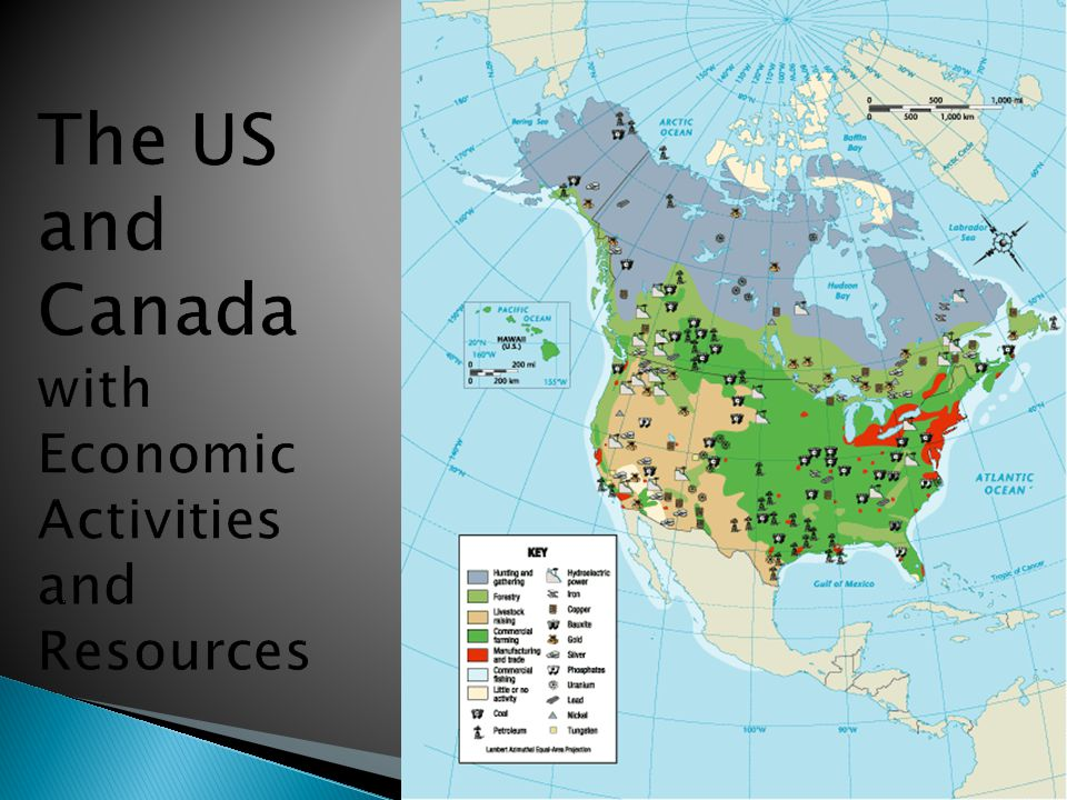 The Us And Canada With Economic Activities And Resources