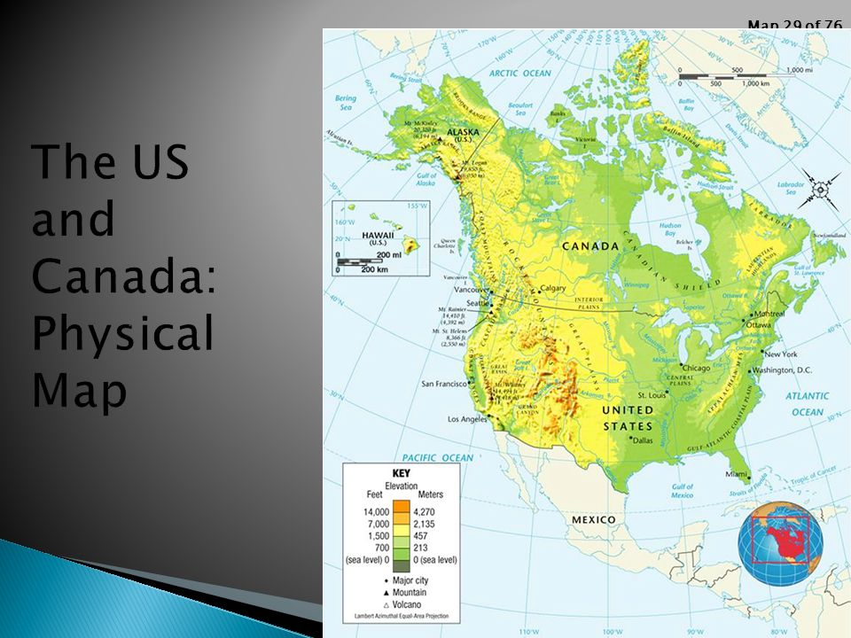 Basic Geography Review Ppt Video Online Download - Canada and us physical map