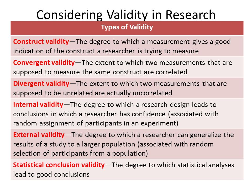 types of validity in research methods A summary of research methods in 's research methods in psychology  there are two types of validity:  overview of research methods research method.