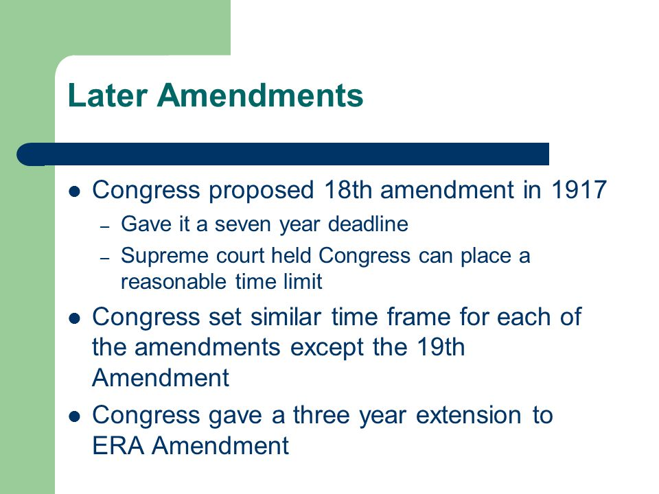 18th amendment congress essay On january 29, 1919, congress ratified the 18th amendment, which prohibited the manufacturing, transportation and sale of alcohol within the united states it would go into effect the following .