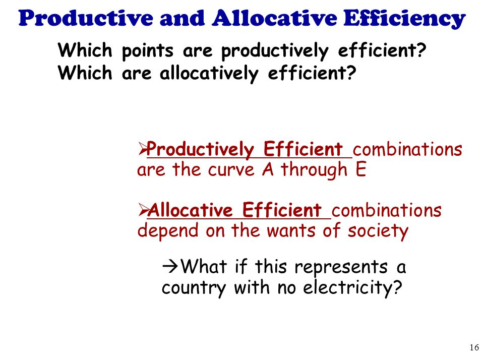 Productive and Allocative Efficiency