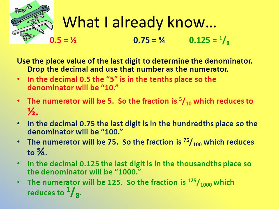 What I already know… 0.5 = ½ 0.75 = ¾ = 1/8