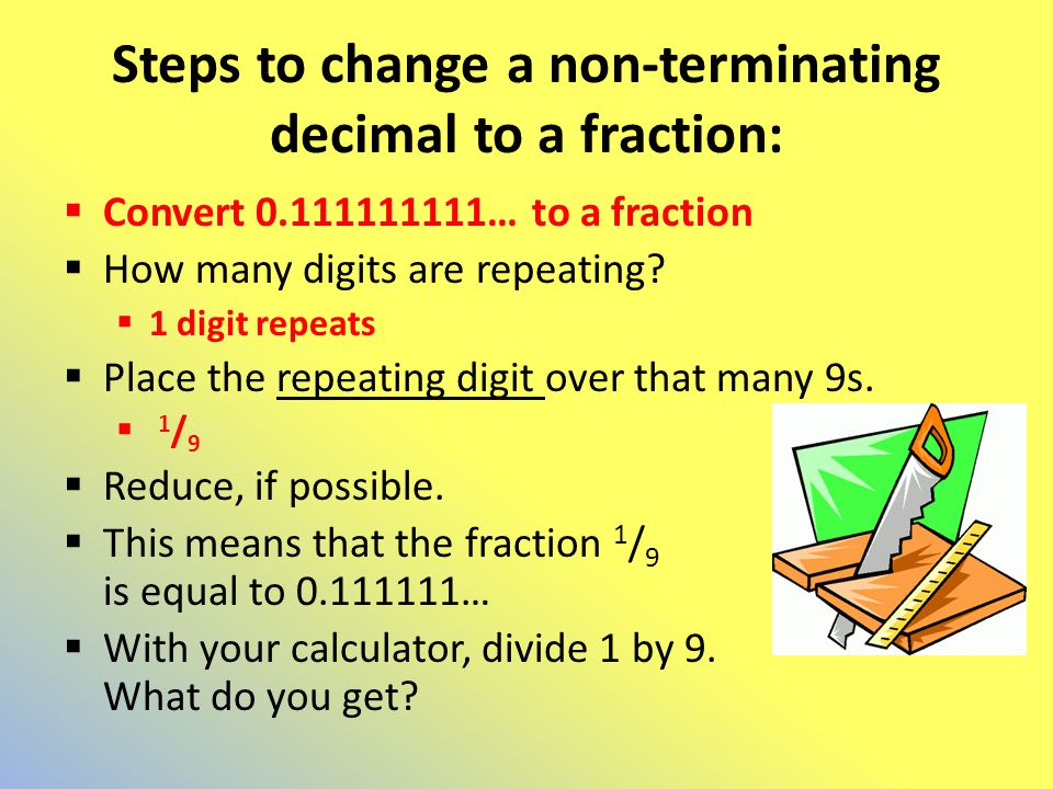 Steps to change a non-terminating decimal to a fraction: