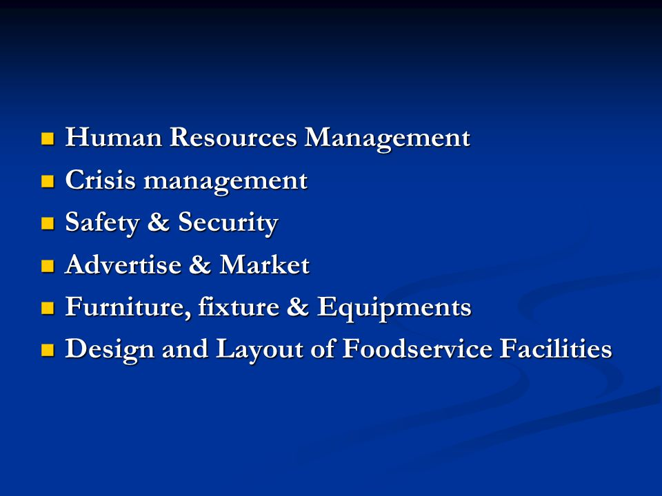 Crisis Resource Management : Design and layout of foodservice facilities john c