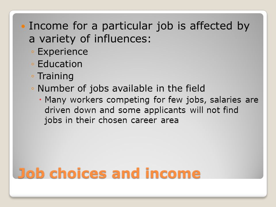 Personal skills and the job market ppt download income for a particular job is affected by a variety of influences ccuart Images