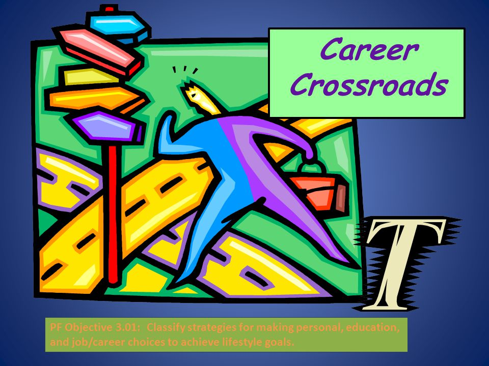 Career Crossroads PF Objective 3.01: Classify strategies for making personal, education, and job/career choices to achieve lifestyle goals.