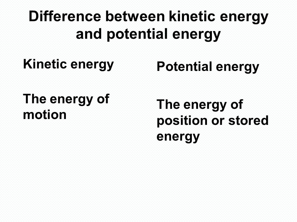 two different types of energy kinetic and potential