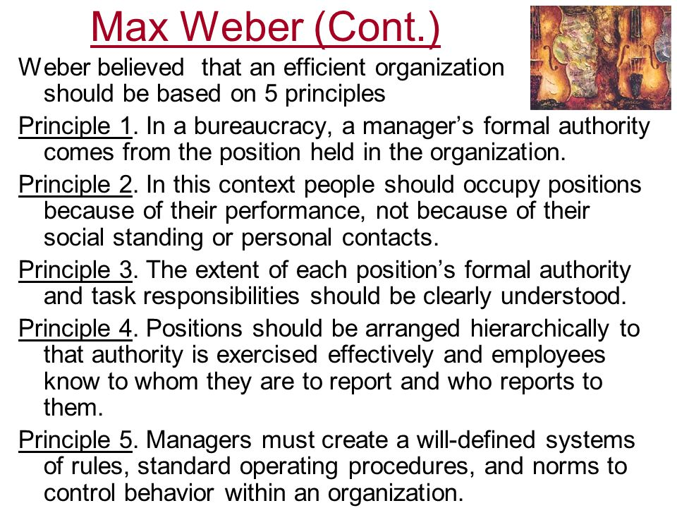 max weber management theory pdf