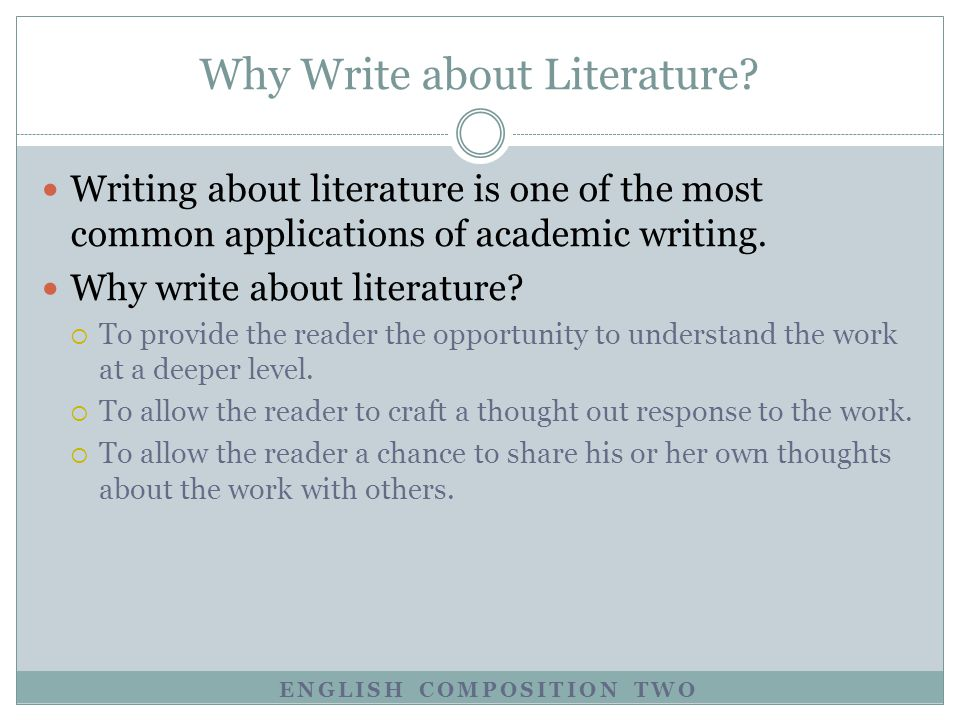 Why Write about Literature