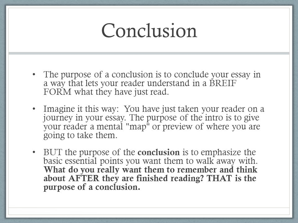 purpose of a conclusion in an essay