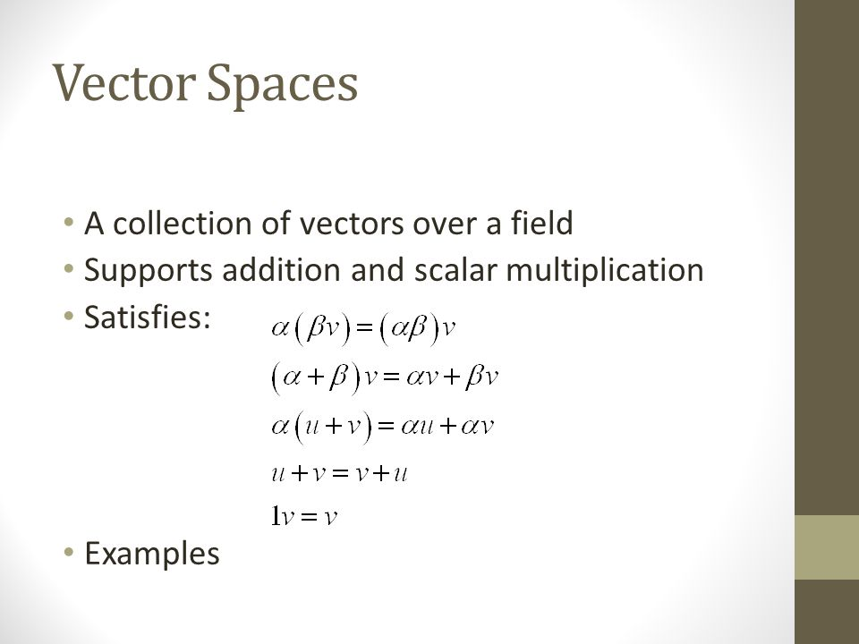 Vector Spaces A collection of vectors over a field