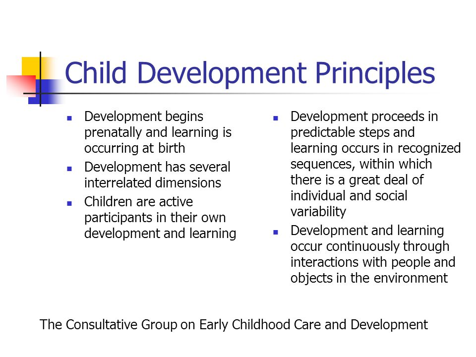 development and learning in children through the principles of human development The domains of child development and early learning are discussed in different terms and categorized in different ways in the various fields and disciplines that are involved in research, practice, and policy related to children from birth through age 8.