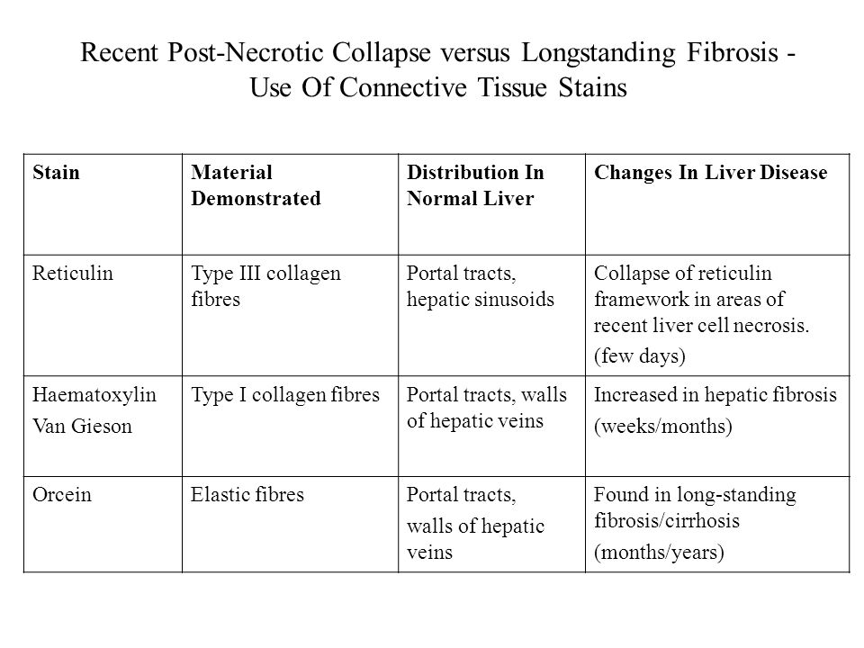Recent Post-Necrotic Collapse versus Longstanding Fibrosis - Use Of Connective Tissue Stains