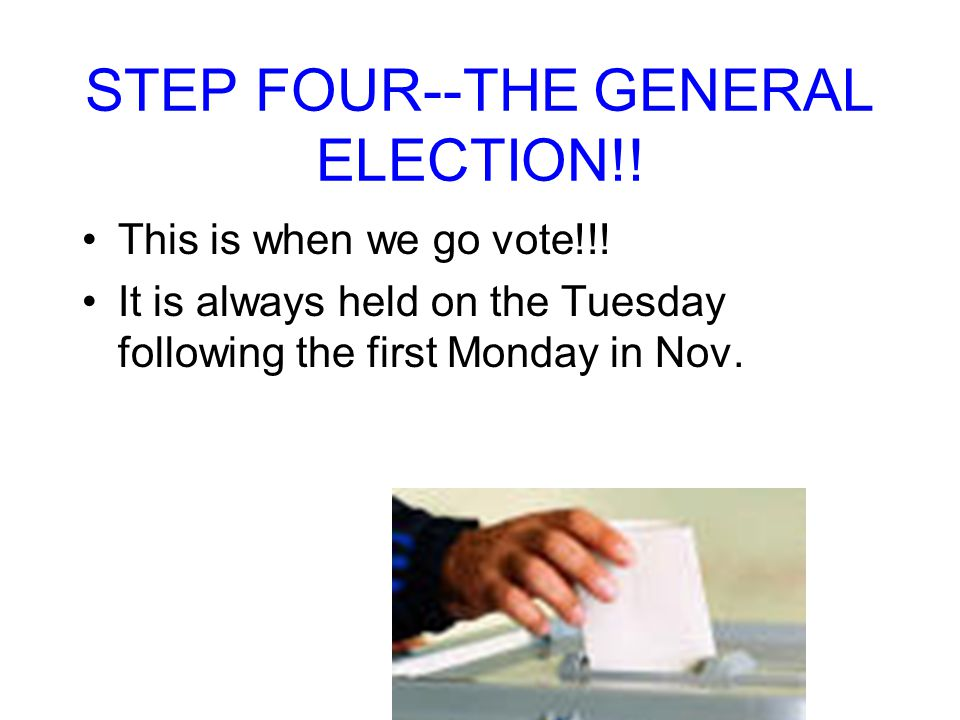 STEP FOUR--THE GENERAL ELECTION!!