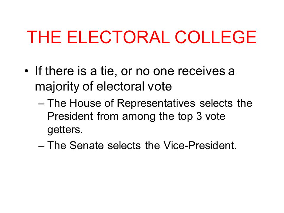 THE ELECTORAL COLLEGE If there is a tie, or no one receives a majority of electoral vote.