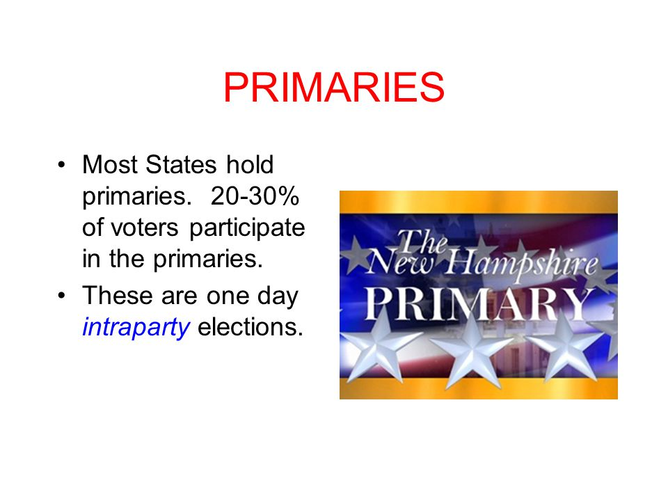 PRIMARIES Most States hold primaries % of voters participate in the primaries.