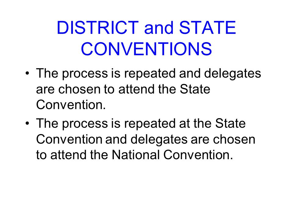 DISTRICT and STATE CONVENTIONS