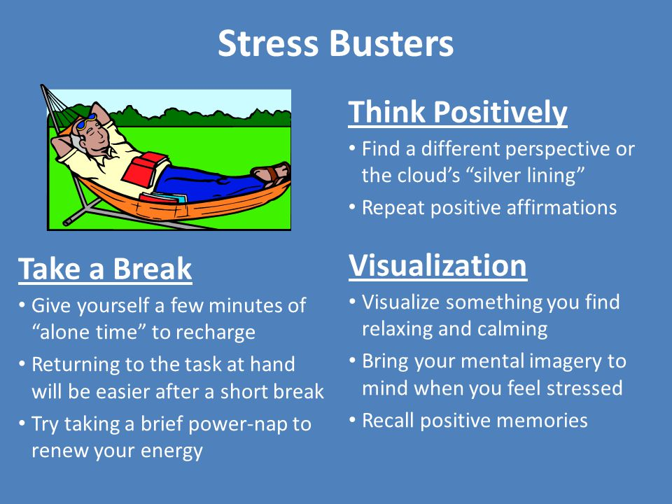 Stress Busters Think Positively Visualization Take a Break