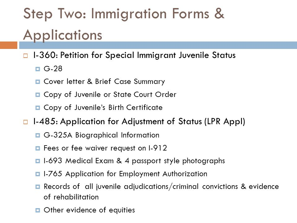 Immigration issues for court involved youth and families for Cover letter for adjustment of status application