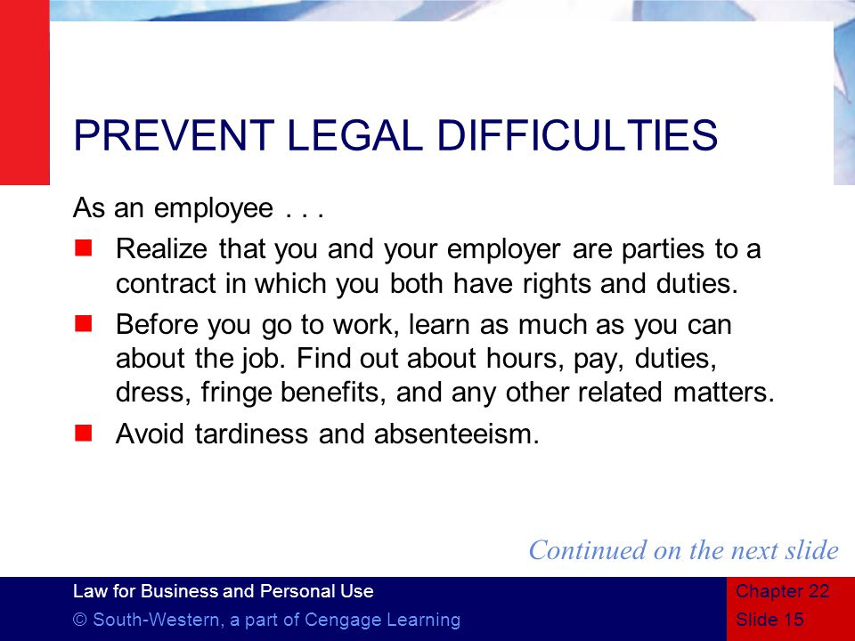 PREVENT LEGAL DIFFICULTIES