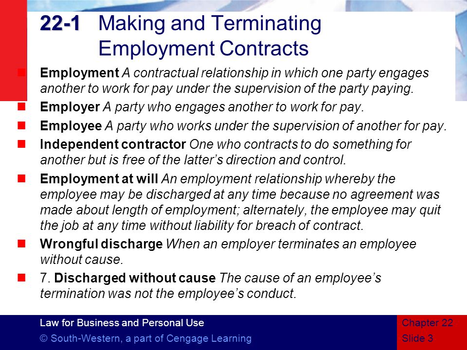 22-1 Making and Terminating Employment Contracts