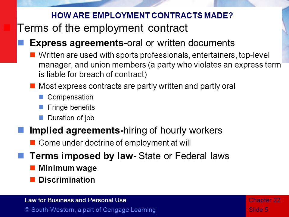 HOW ARE EMPLOYMENT CONTRACTS MADE