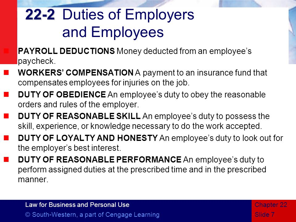 22-2 Duties of Employers and Employees