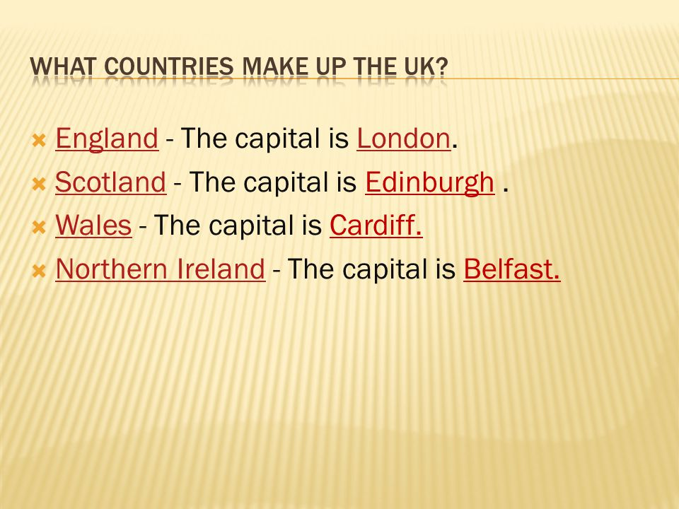 What countries make up the UK
