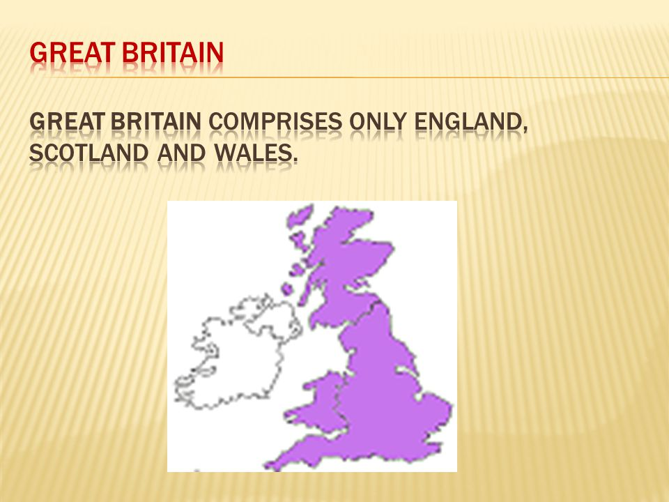 GREAT BRITAIN Great Britain comprises only England, Scotland and Wales.