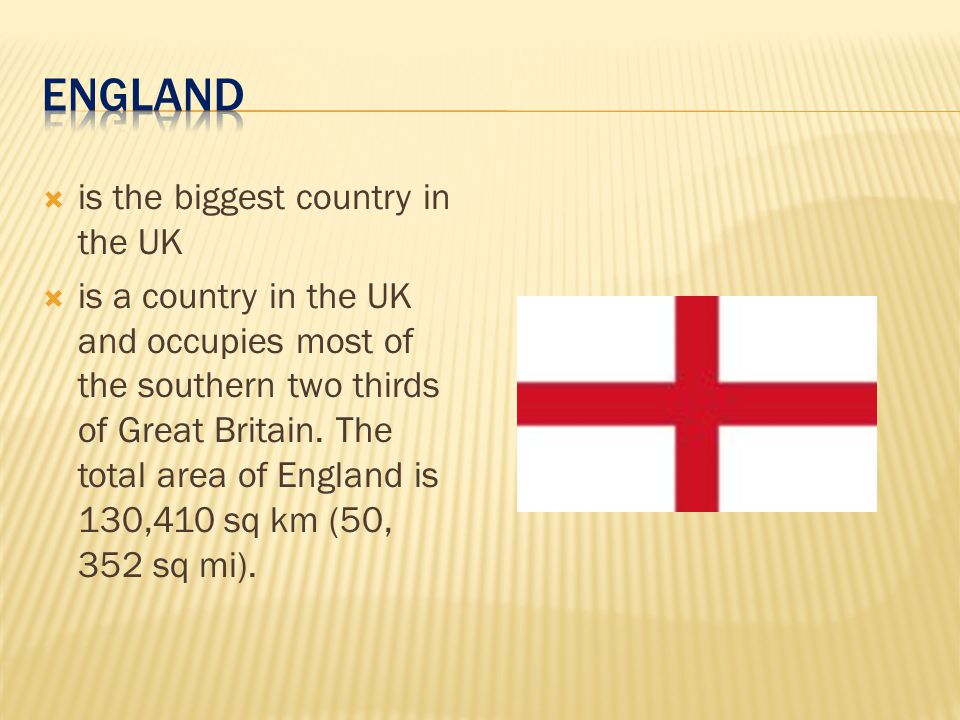 ENGLAND is the biggest country in the UK