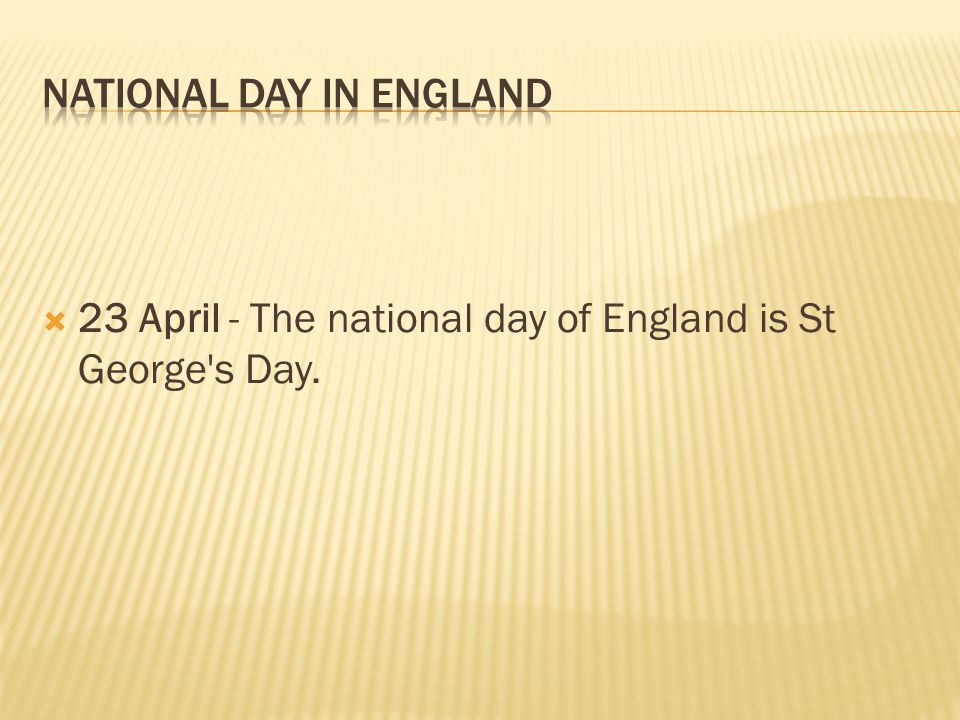 National Day in ENGLAND