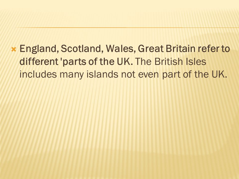 England, Scotland, Wales, Great Britain refer to different parts of the UK.