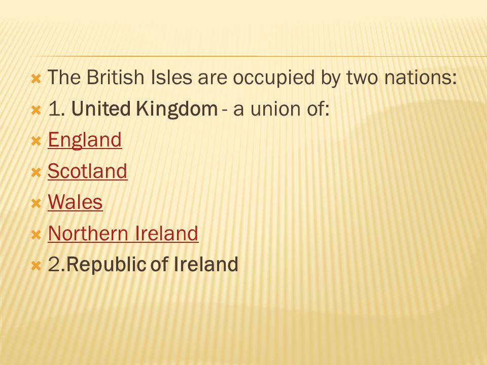 The British Isles are occupied by two nations: