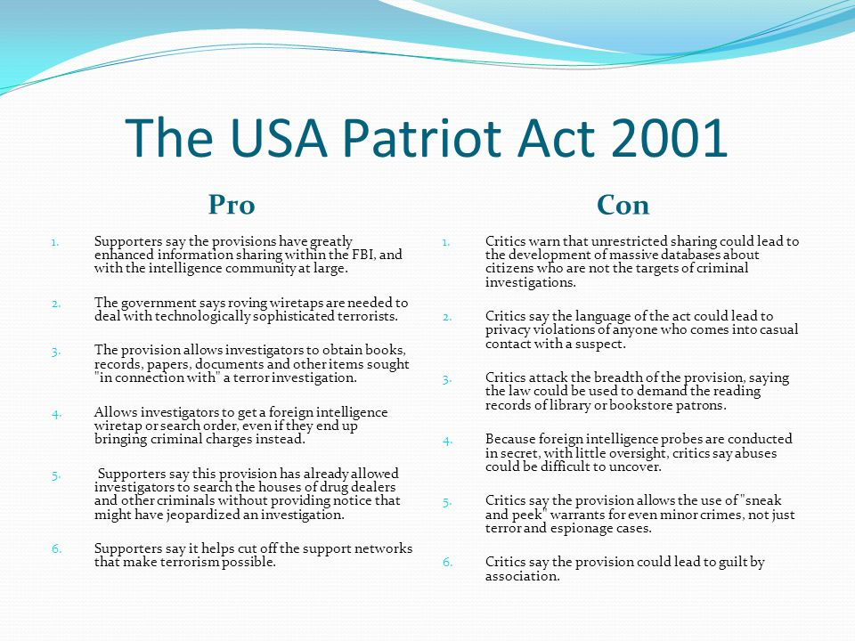 the patriot act vs civil liberties essay In today's political environment, where american civil liberties are being  scrutinized, we  furthermore, the ruling also mentions us v  today we take  legislation like fisa, the patriot act, and the ndaa for granted.